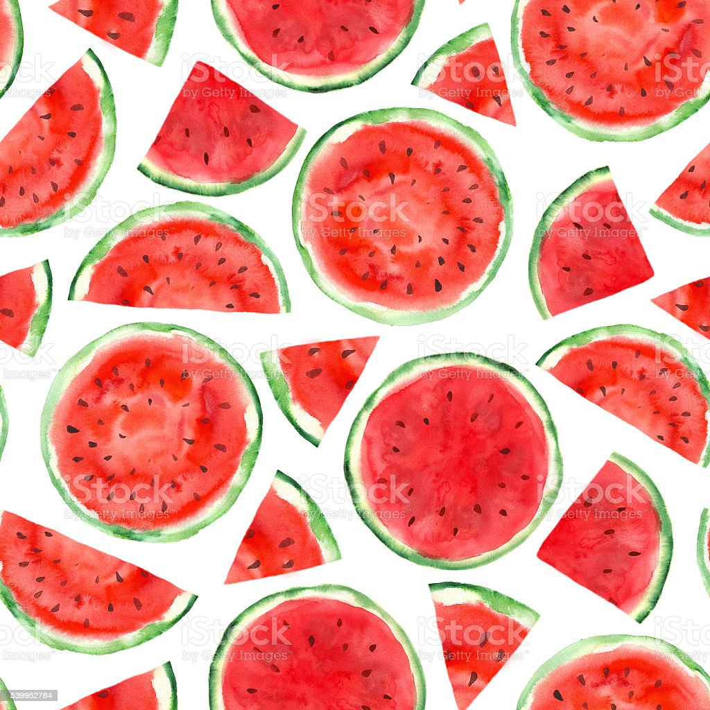 pattern with watermelon vector art illustration