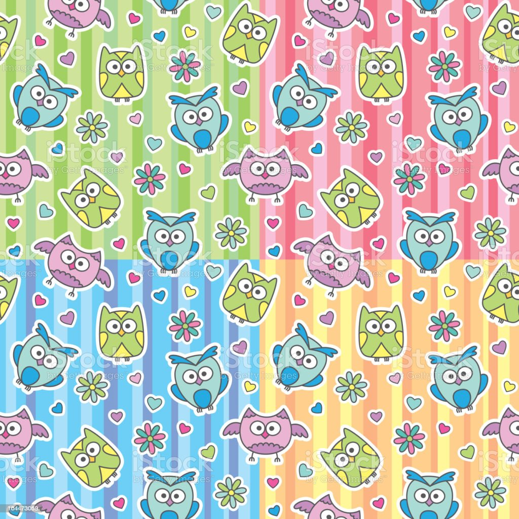 patterns of cartoon owls royalty-free stock vector art