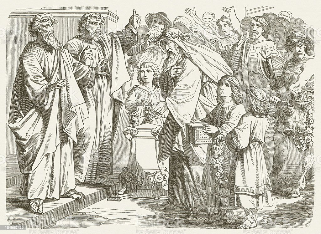 Paul and Barnabas at Iconium (Acts 14), published in 1877 vector art illustration