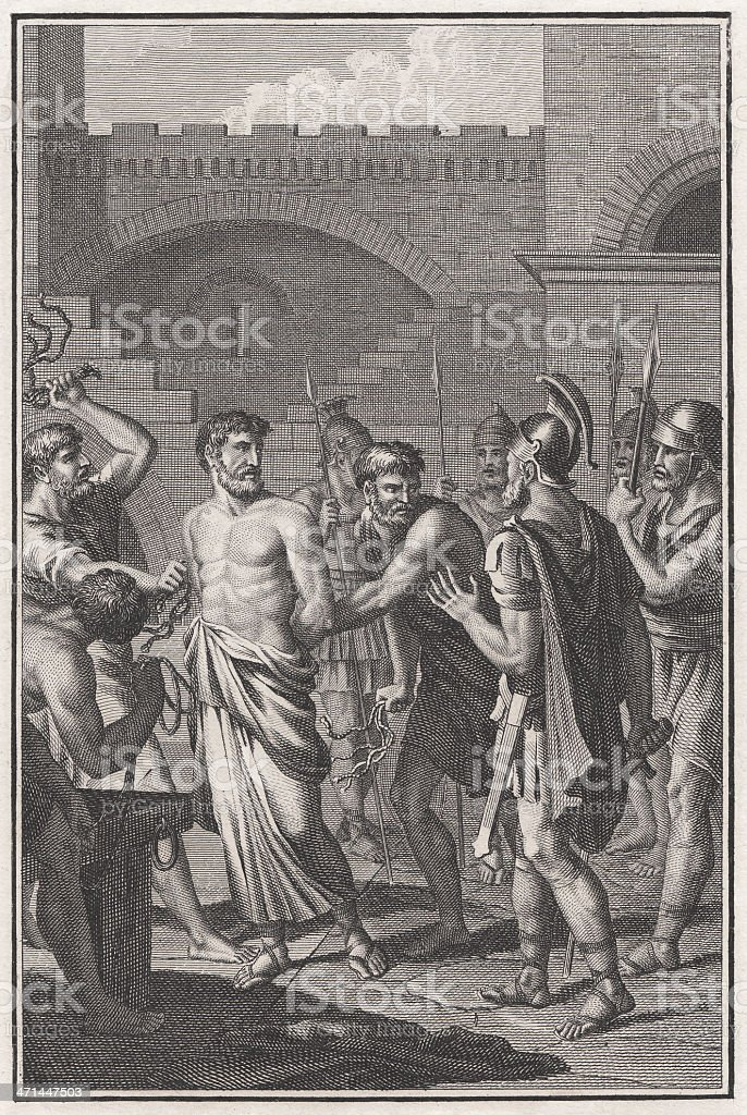 Paul and his Roman citizenship (Acts 22, 25-29) vector art illustration