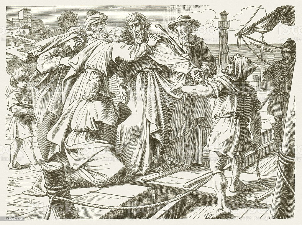 Paul emotional farewell from Tyre (Acts 21), published in 1877 vector art illustration
