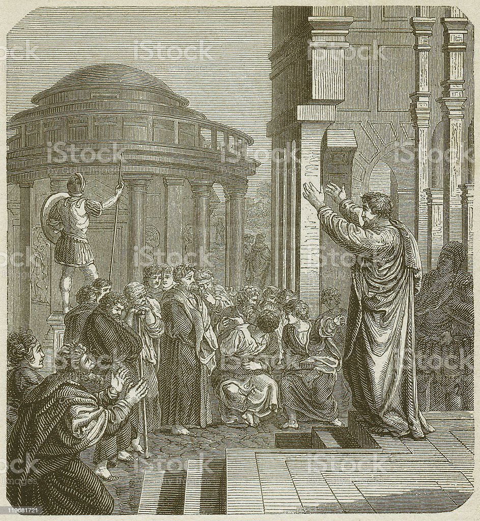Paul in Athens (Acts 17), wood engraving, published in 1877 royalty-free stock vector art