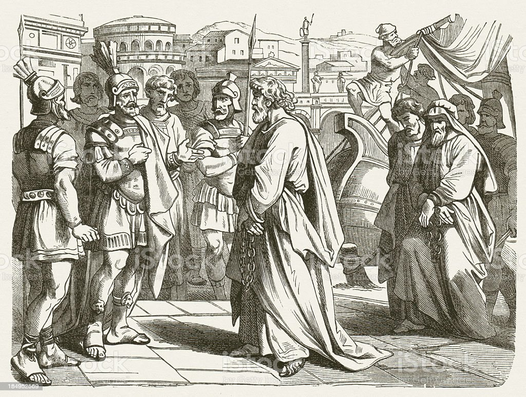 Paul in Rome (Acts 28, 16-31), wood engraving, published 1877 vector art illustration