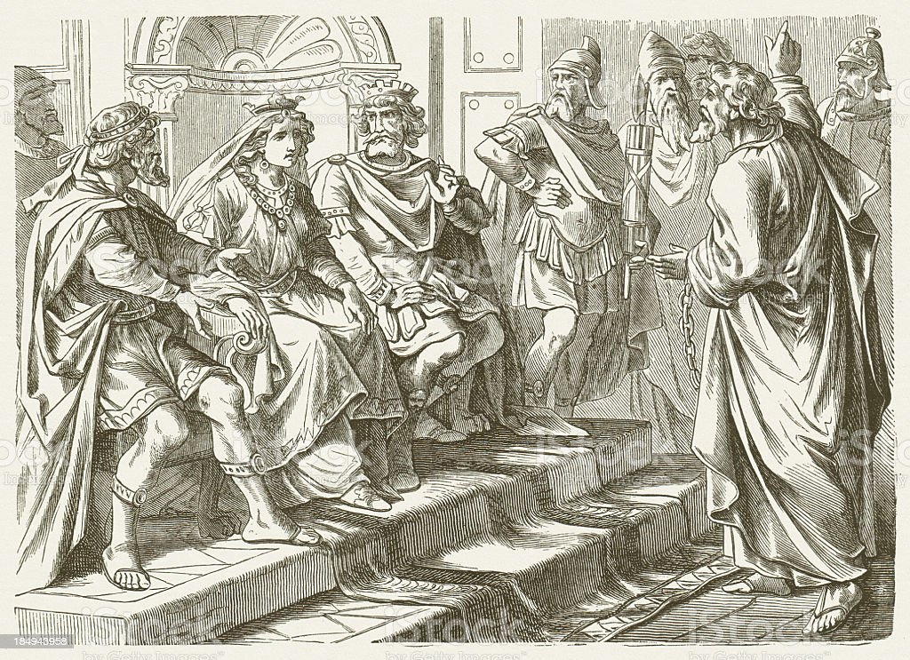 Paul justifies himself (Acts, 25+26), wood engraving, published in 1877 vector art illustration