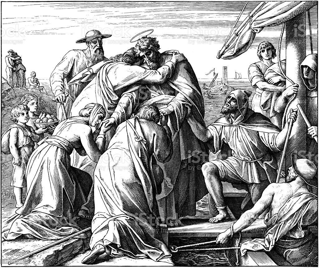 Paul's Farewell to Ephesian Elders royalty-free stock vector art