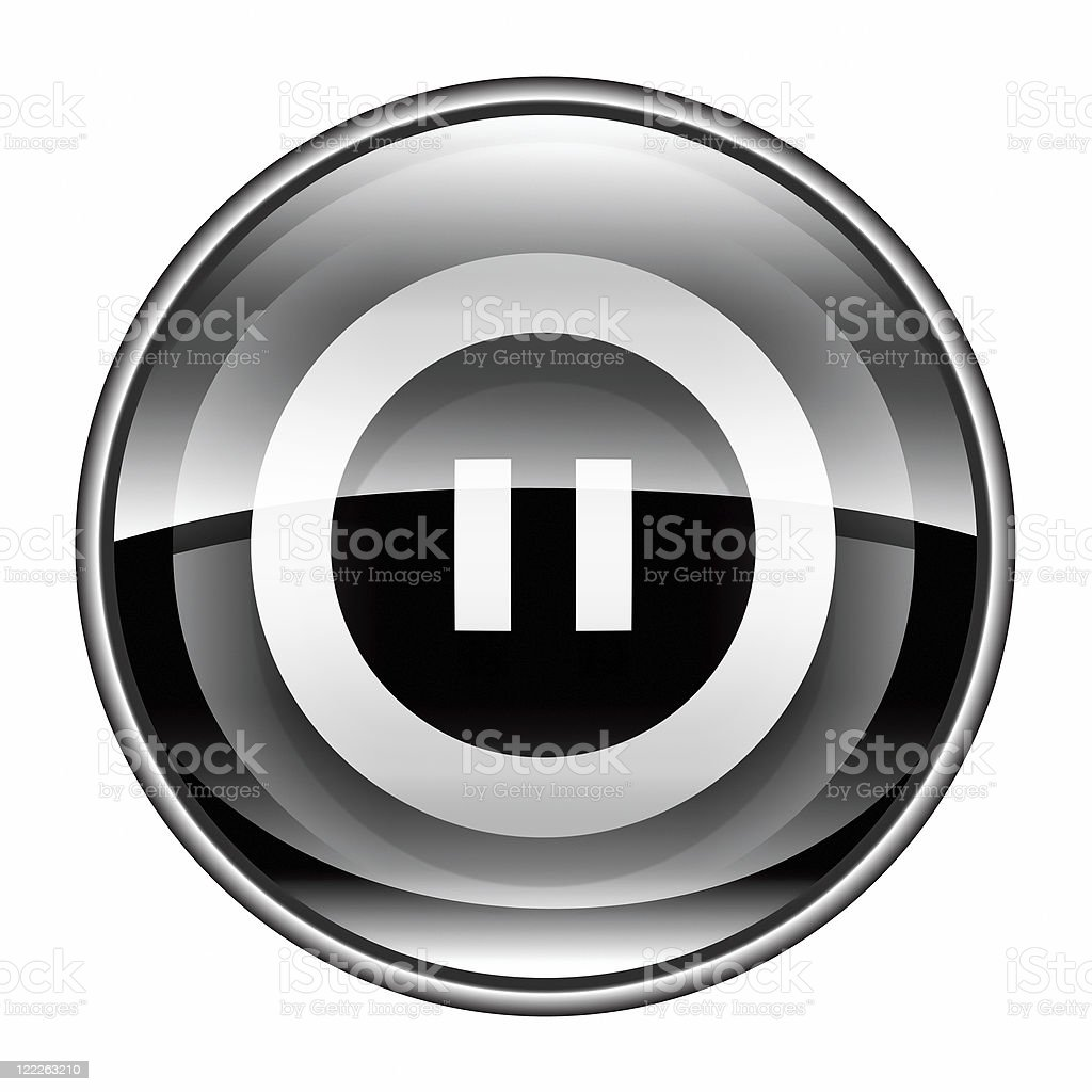 Pause icon black, isolated on white background. royalty-free stock vector art