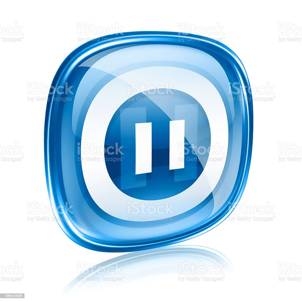 Pause icon blue glass, isolated on white background. royalty-free stock vector art