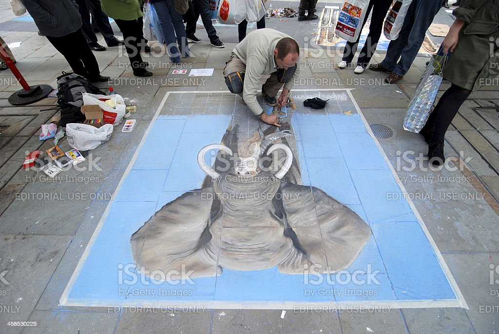 Pavement Art Competition at the Bold Street Festival in Liverpool vector art illustration