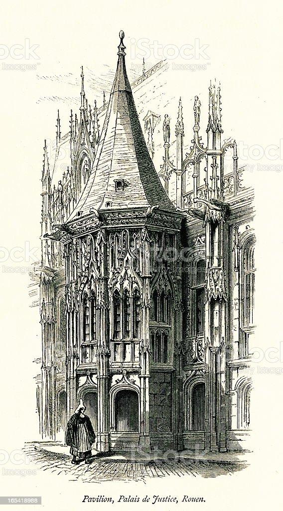 Pavilion of Palais de Justice, Rouen, France royalty-free stock vector art