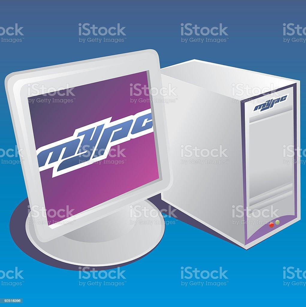 pc en azul-vector icono de ordenador - ilustración de arte vectorial