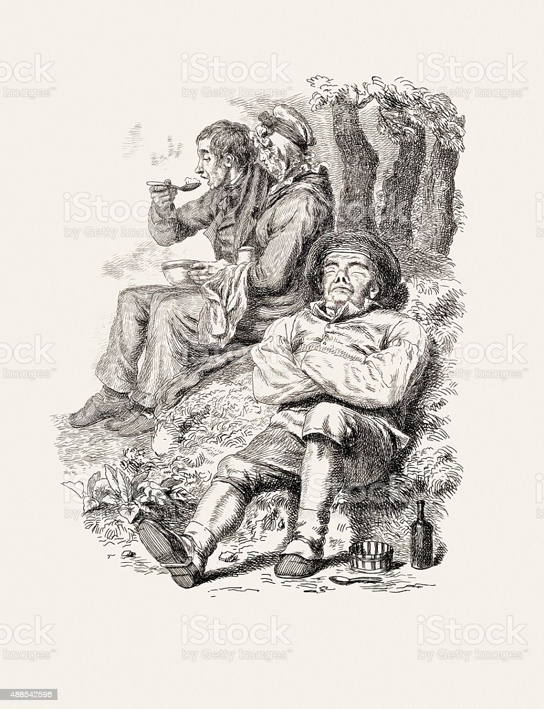 Peace and plenty, 19 century etching by Walter Geikie vector art illustration
