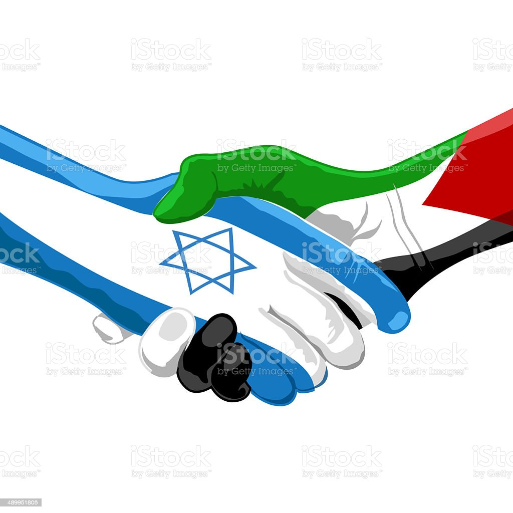 peace between israel and palestine vector art illustration