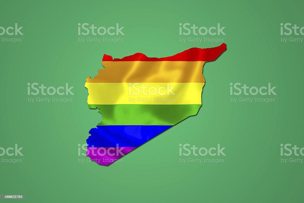 Peace flag inside syria map. royalty-free stock vector art
