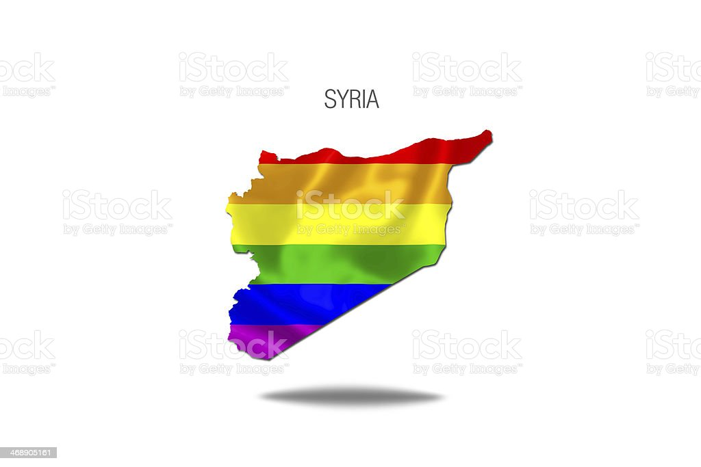 Peace flag inside syria map. royalty-free stock vector art