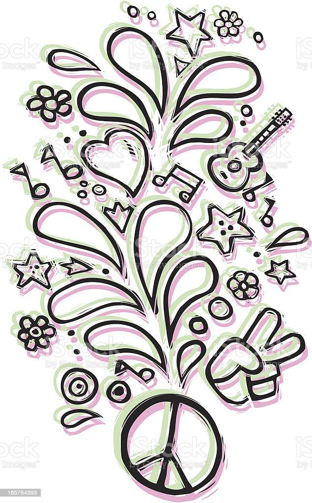 Peace, Love & Harmony royalty-free stock vector art