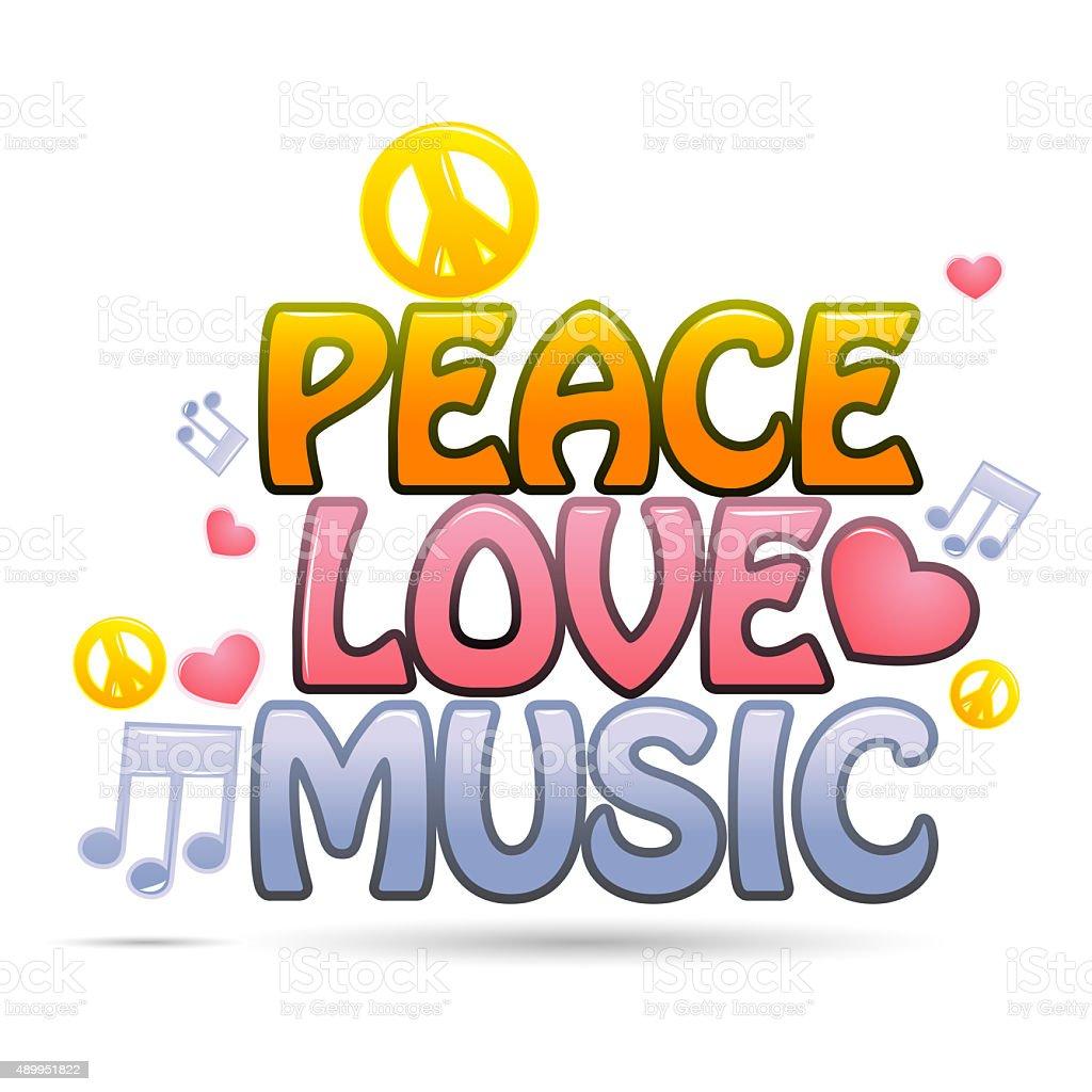 peace love music vector art illustration