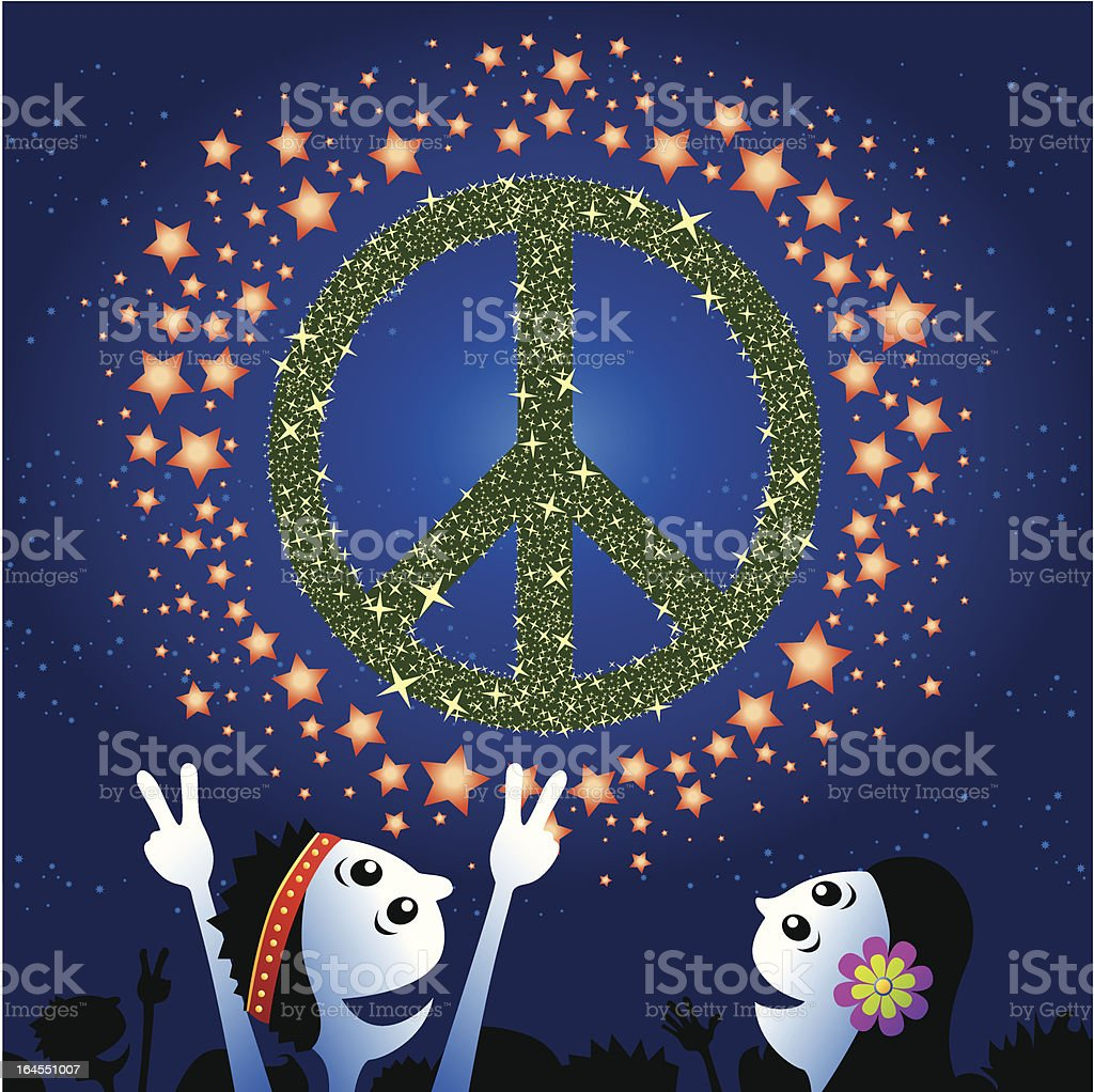 Peace sign fireworks royalty-free stock vector art