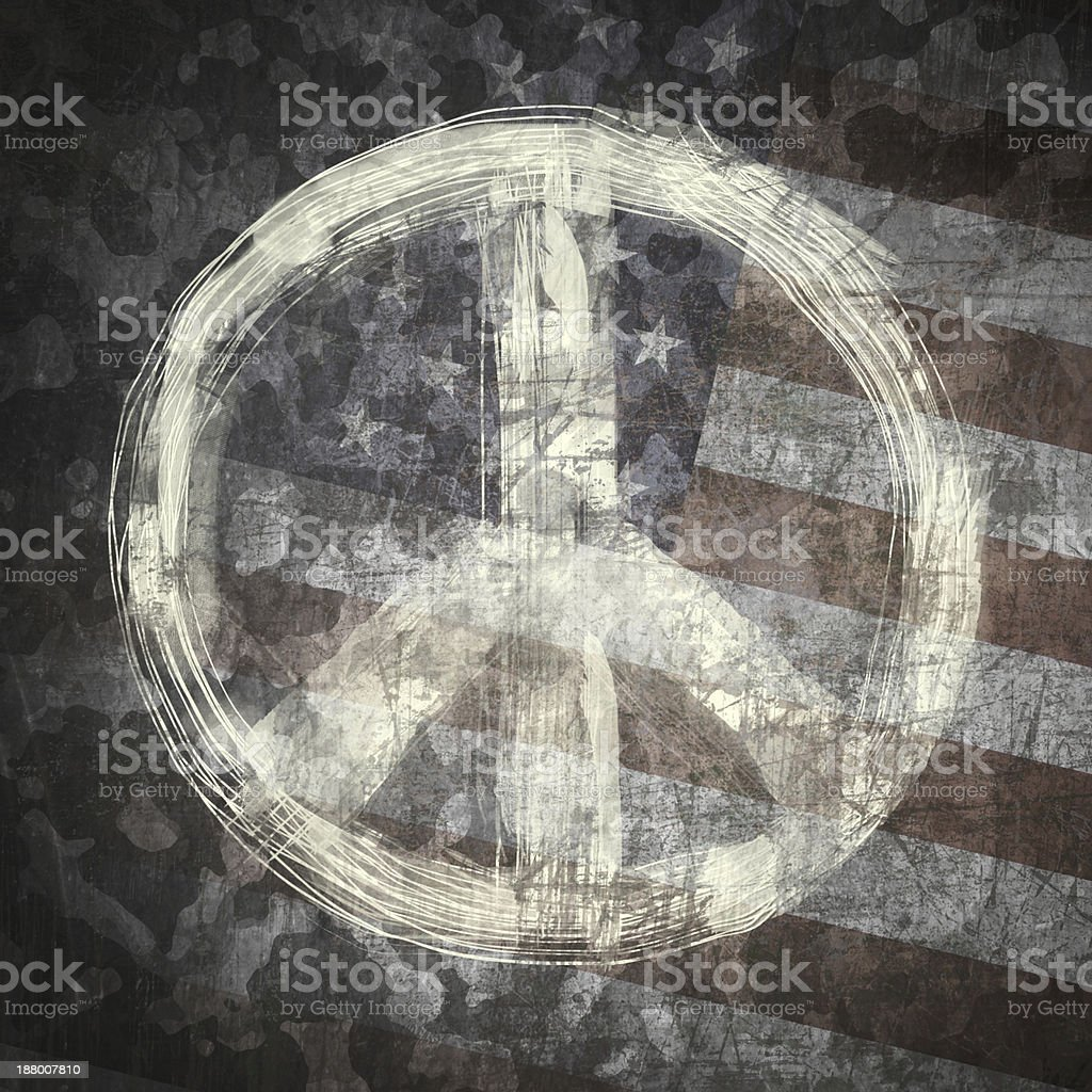 Peace sign on military background vector art illustration