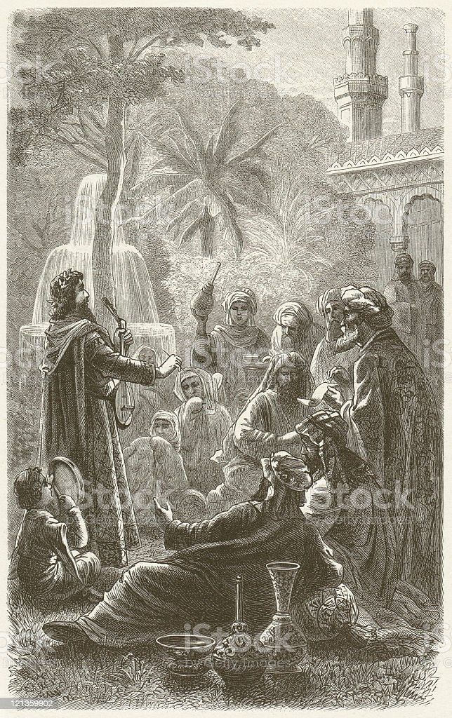 Peaceful coexistence of religions in Cordoba, 10th century, published 1881 vector art illustration