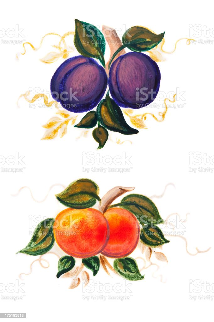 Peach and Plum Painting royalty-free stock vector art