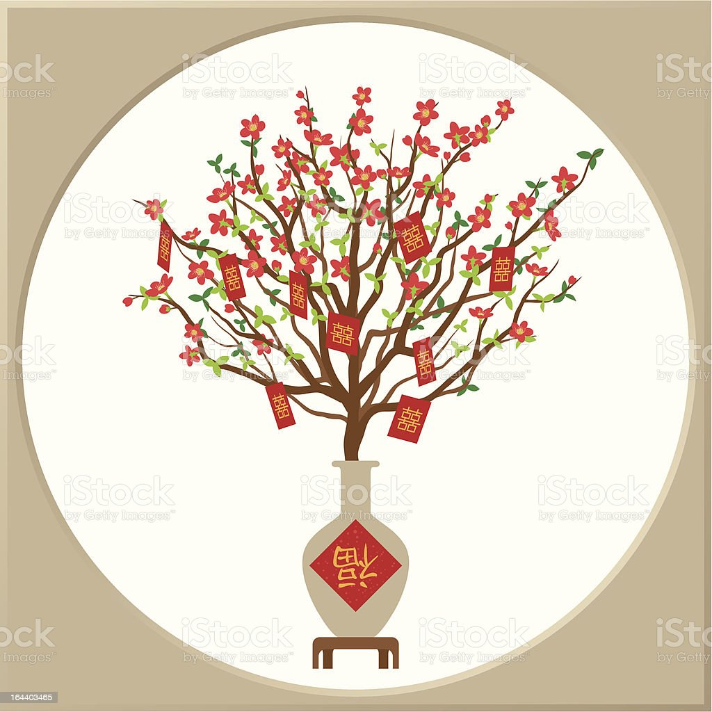 Peach blossom in a vase royalty-free stock vector art