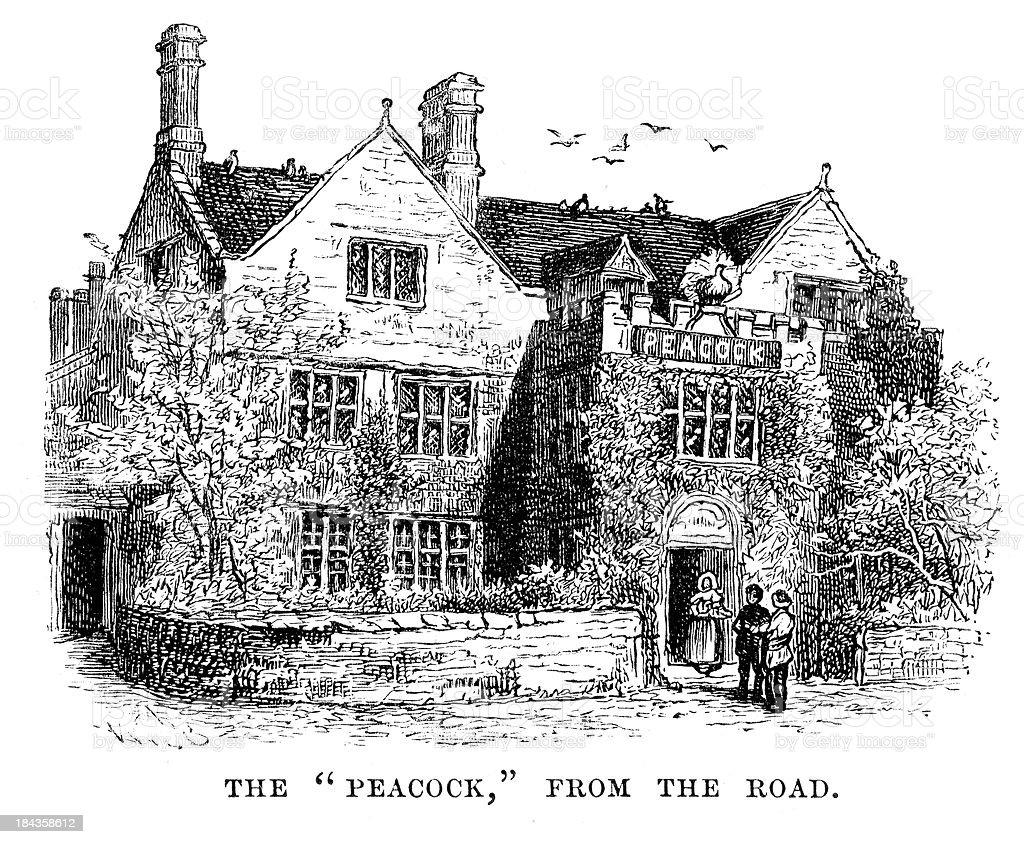 Peacock Inn at Rowsley royalty-free stock vector art