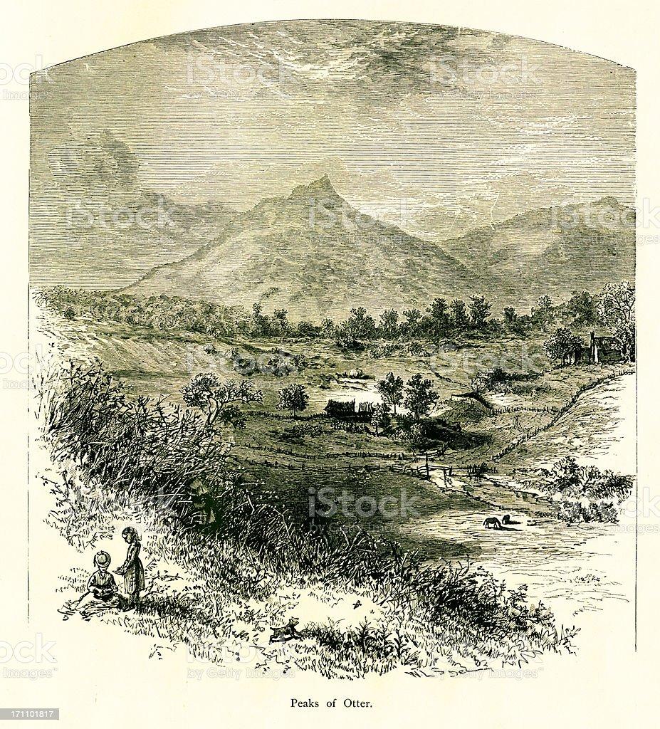 Peaks of Otter, Virginia | Historic American Illustrations royalty-free stock vector art