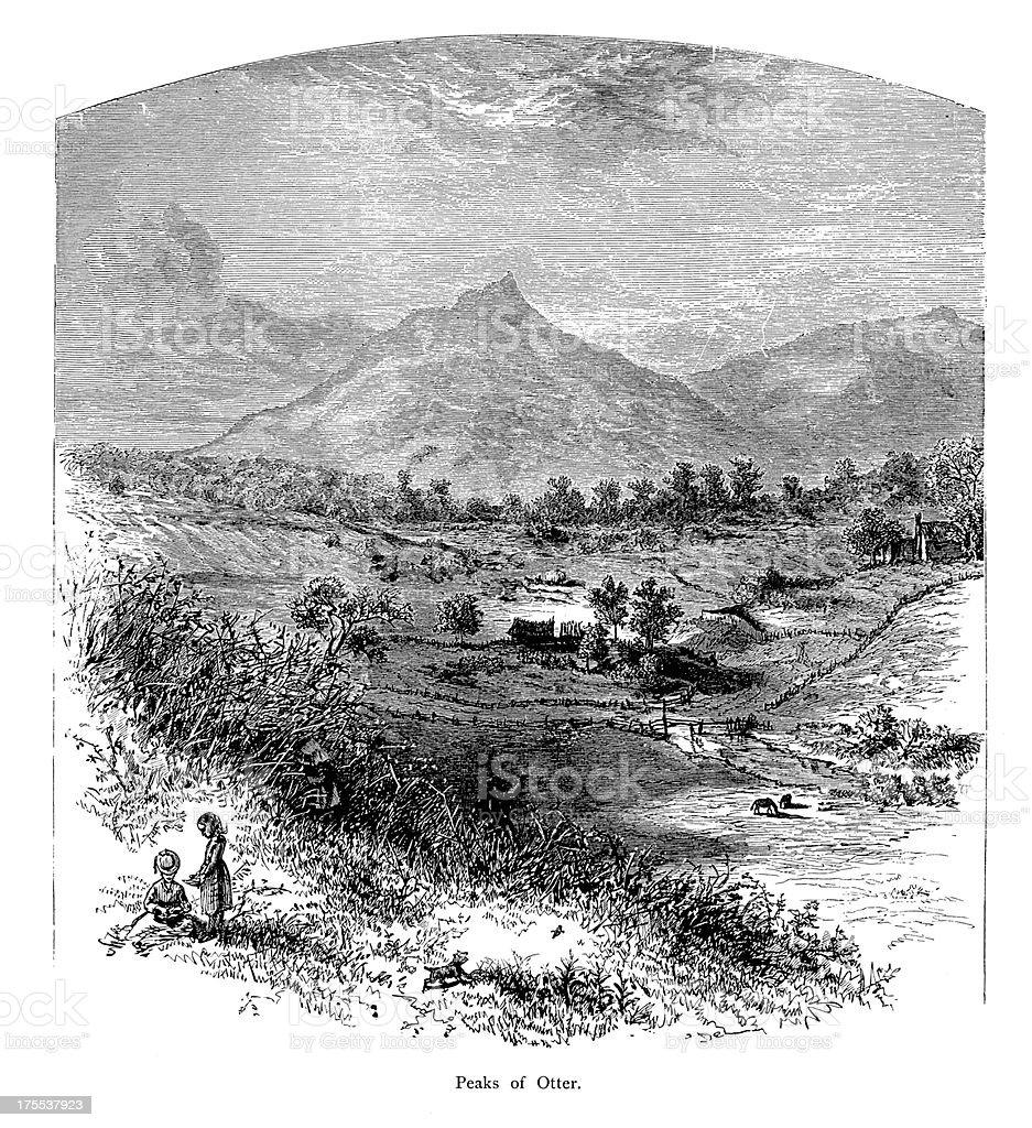 Peaks of Otter, Virginia   Historic American Illustrations vector art illustration