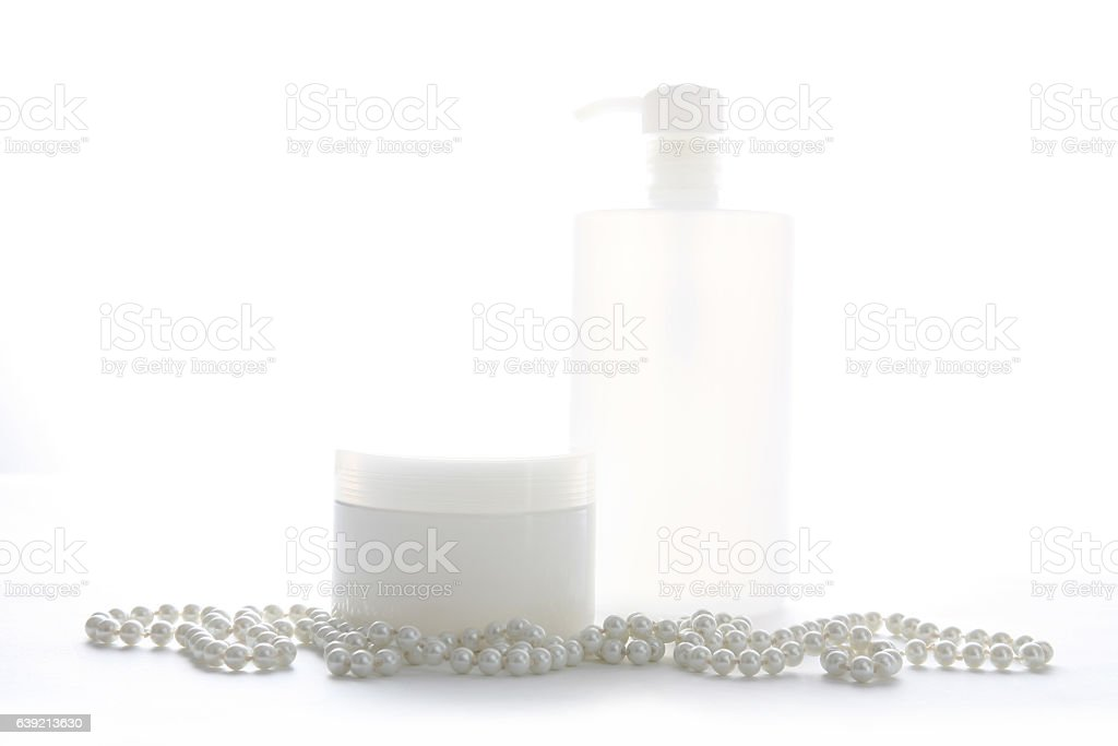 Pearl necklace with cosmetiic product jar vector art illustration