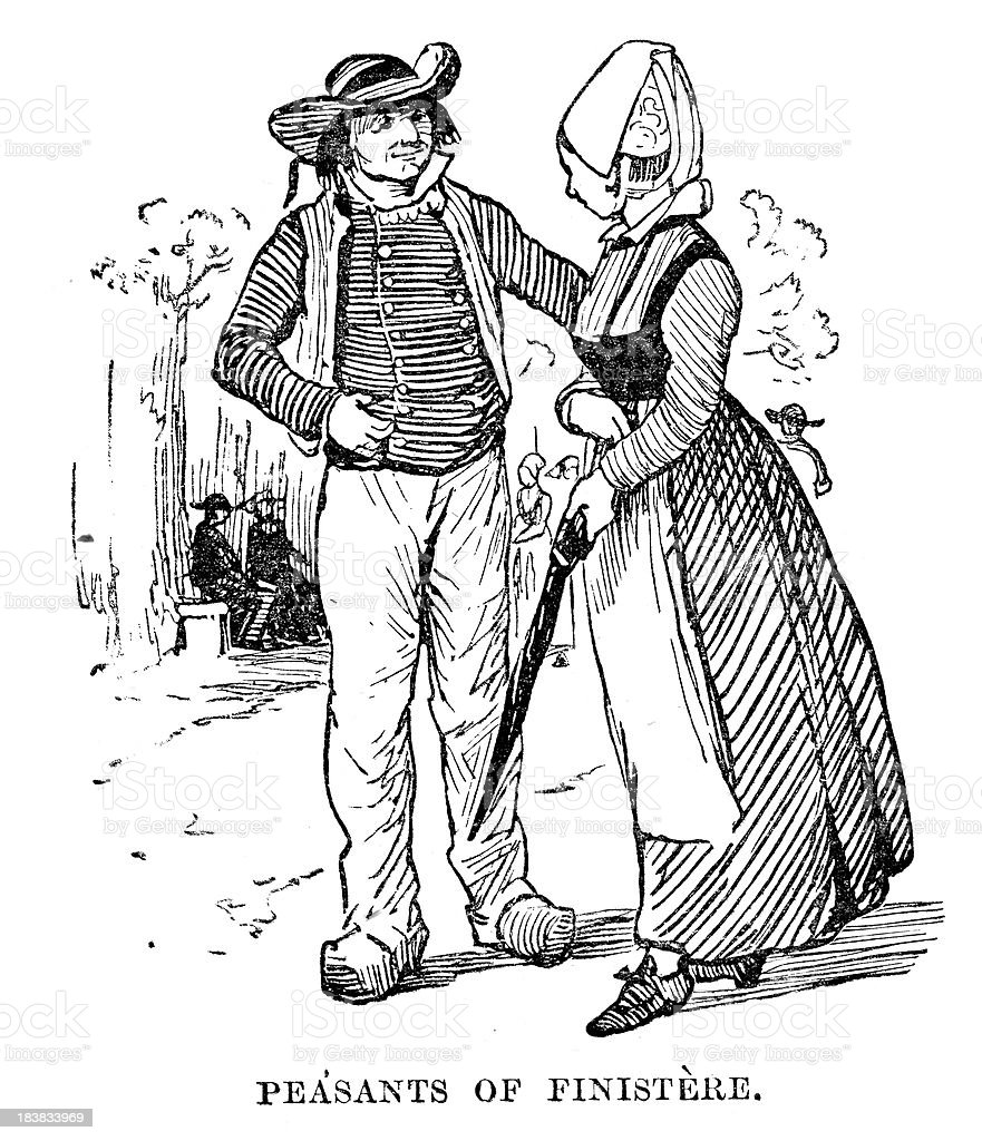 Peasants of Finistère vector art illustration