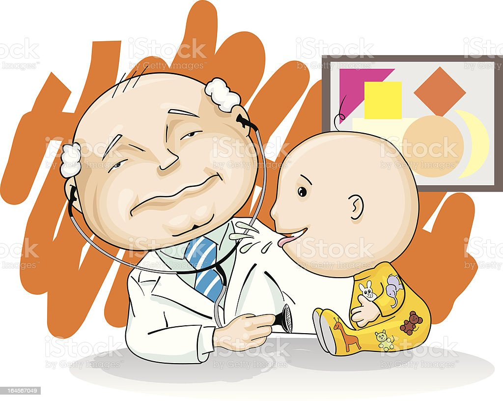 Pediatrician and baby royalty-free stock vector art