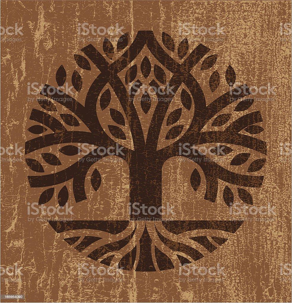Peeling paint tree vector art illustration