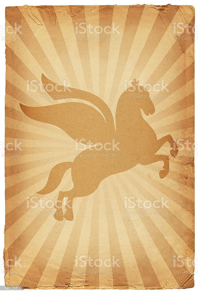 Pegasus on old paper Background royalty-free stock vector art