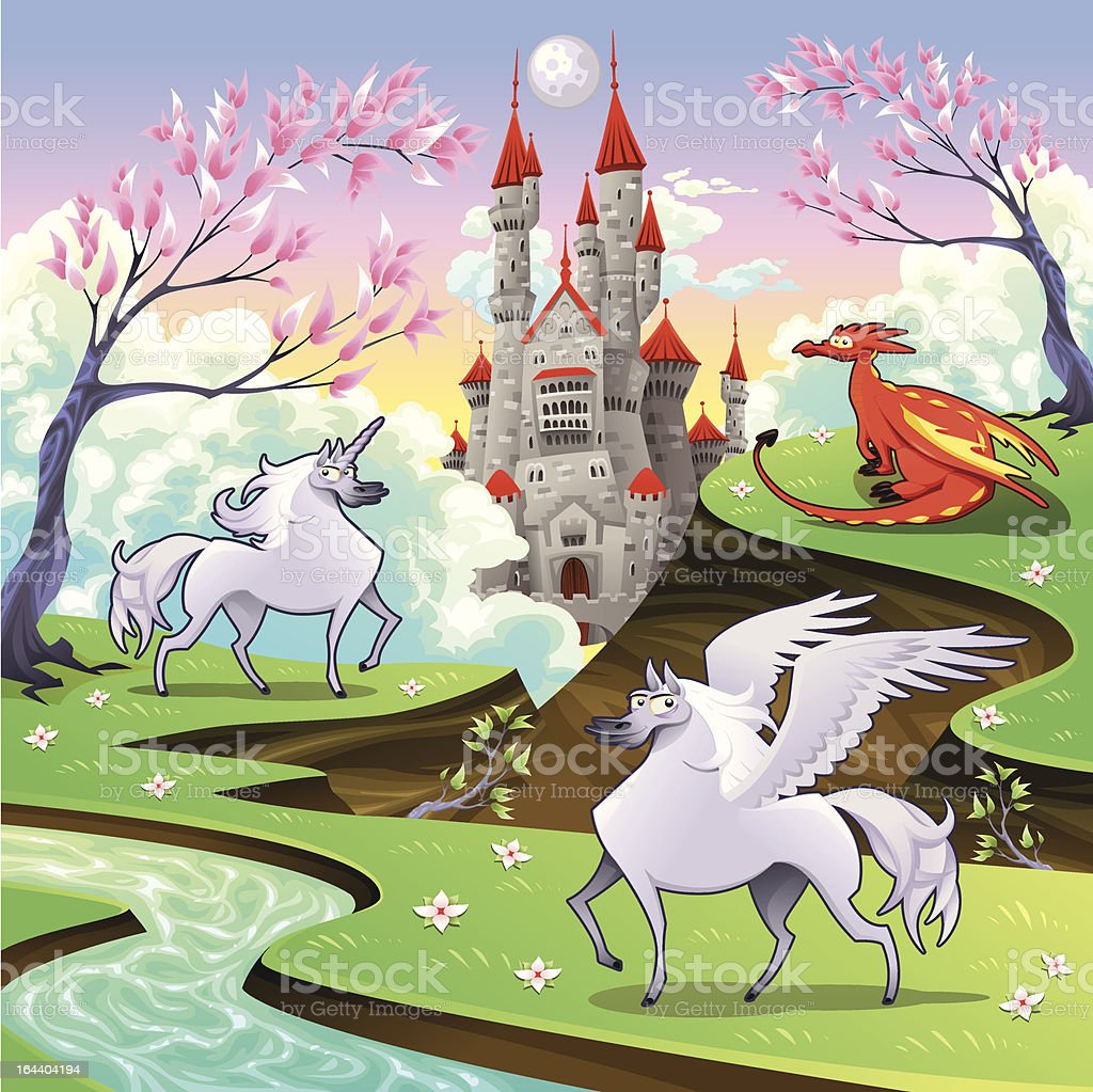 Pegasus, unicorn and dragon in a mythological landscape royalty-free stock vector art