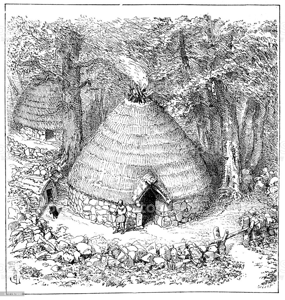 Pelasgian hut, visual reconstruction vector art illustration