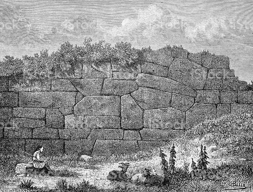Pelasgian wall royalty-free stock vector art