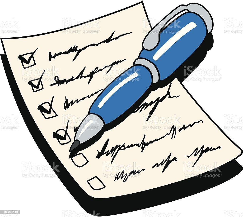 Pen and Checklist royalty-free stock vector art