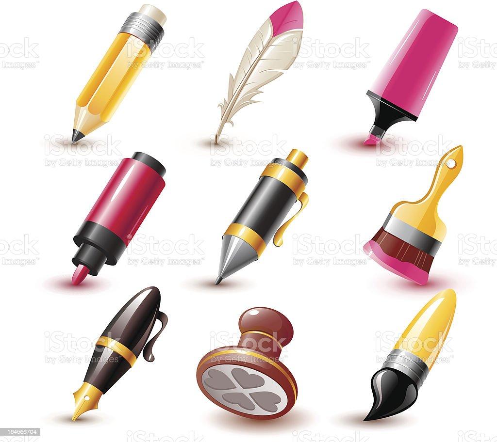 Pen icons royalty-free stock vector art