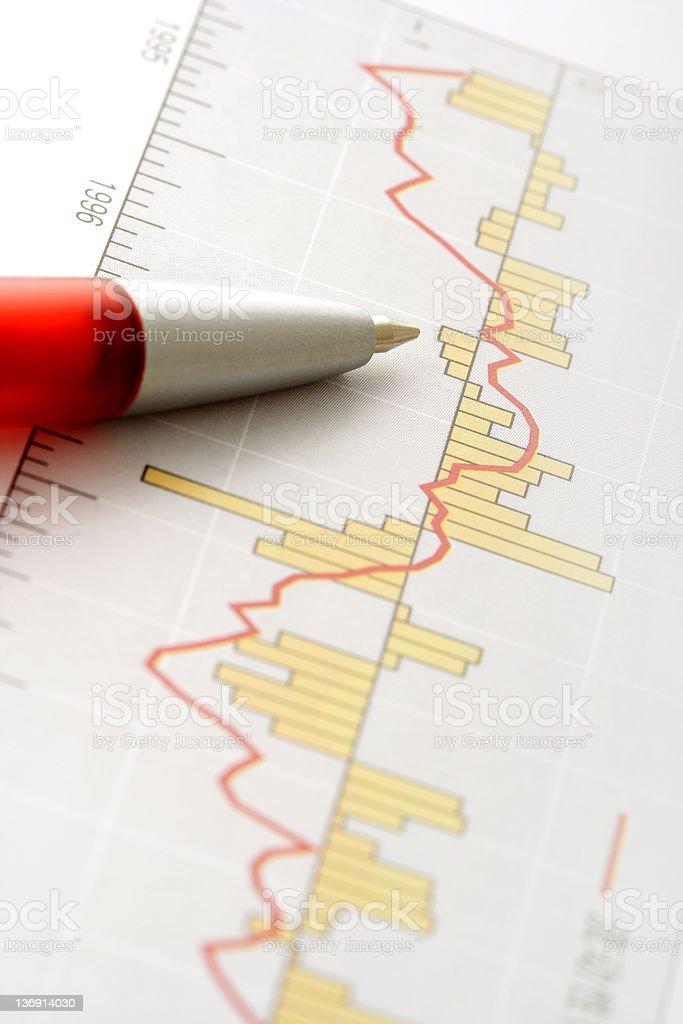 Pen on Graph royalty-free stock vector art