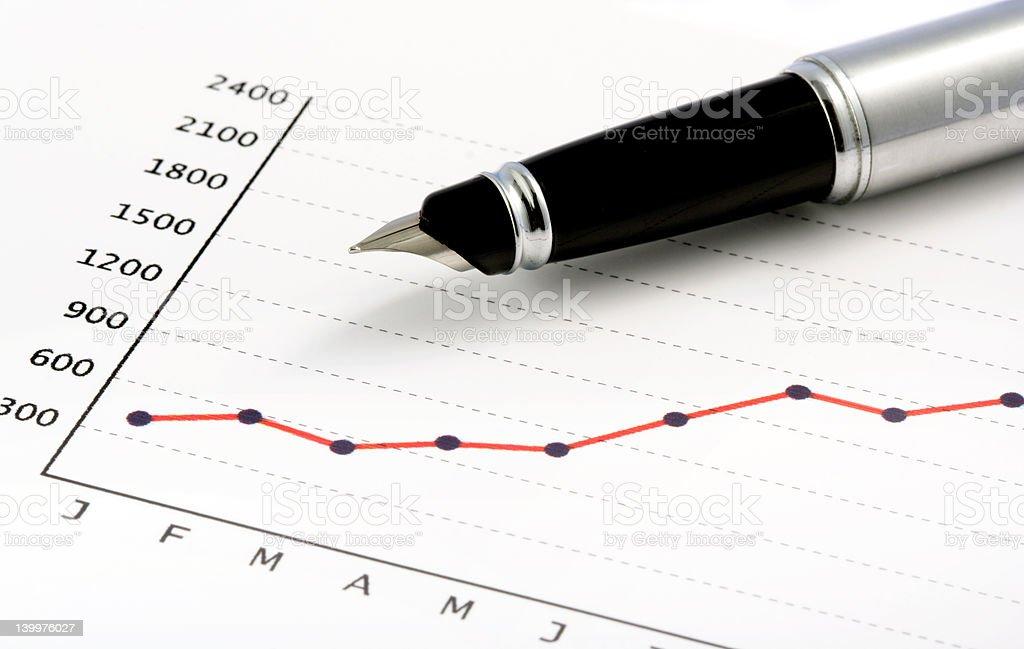 Pen on Positive Earning Graph royalty-free stock vector art