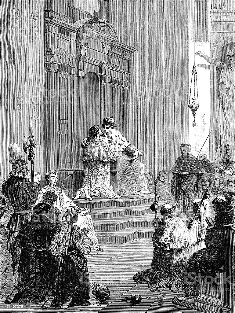 Penance ceremony vector art illustration