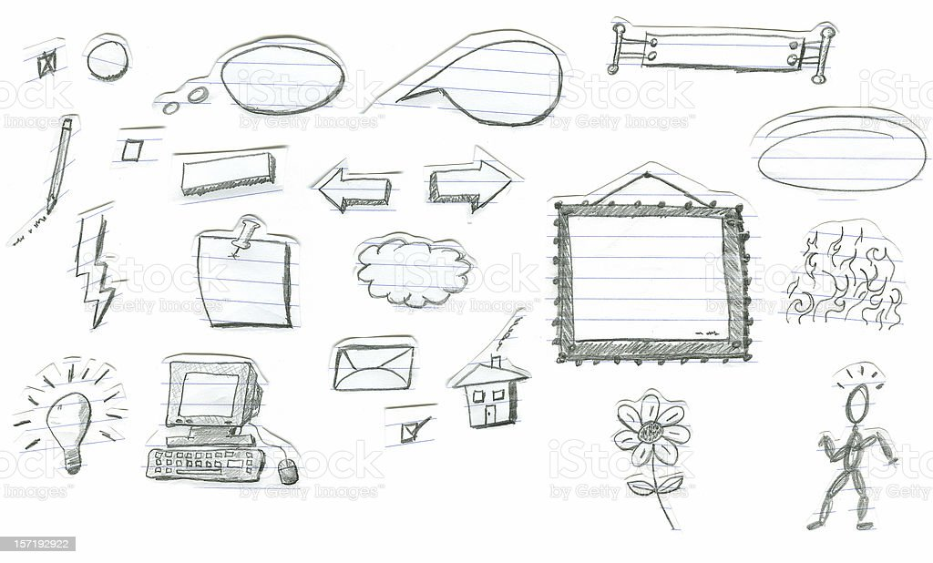 Pencil Doodles on Notebook royalty-free stock vector art