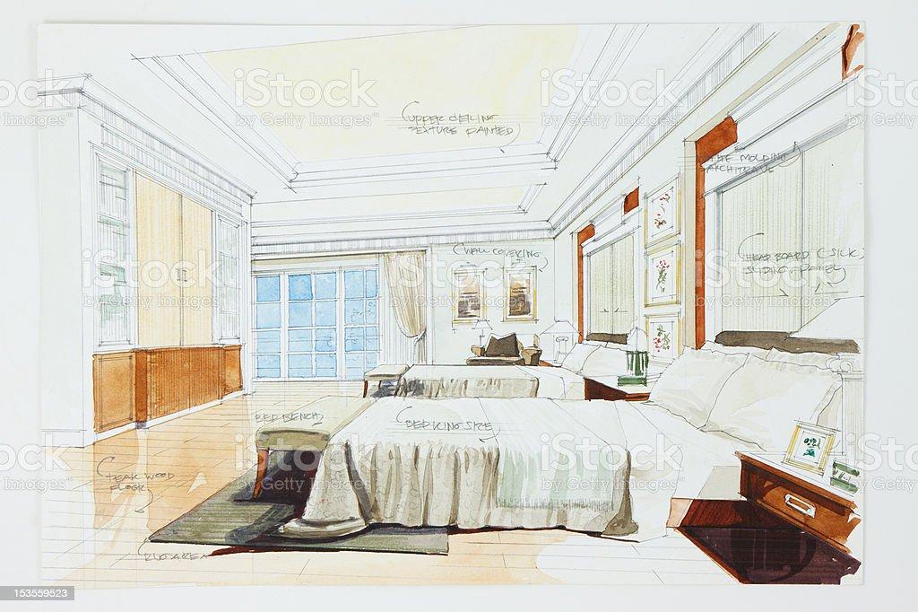 bleistift zeichnen und skizzieren aquarell vektor illustration, Schlafzimmer