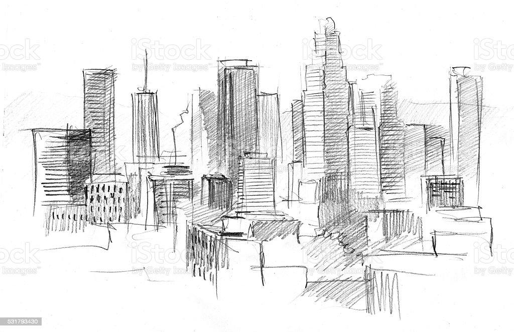 Dessin D Architecture Moderne : Crayon dessin dune grande ville avec un gratteciel moderne