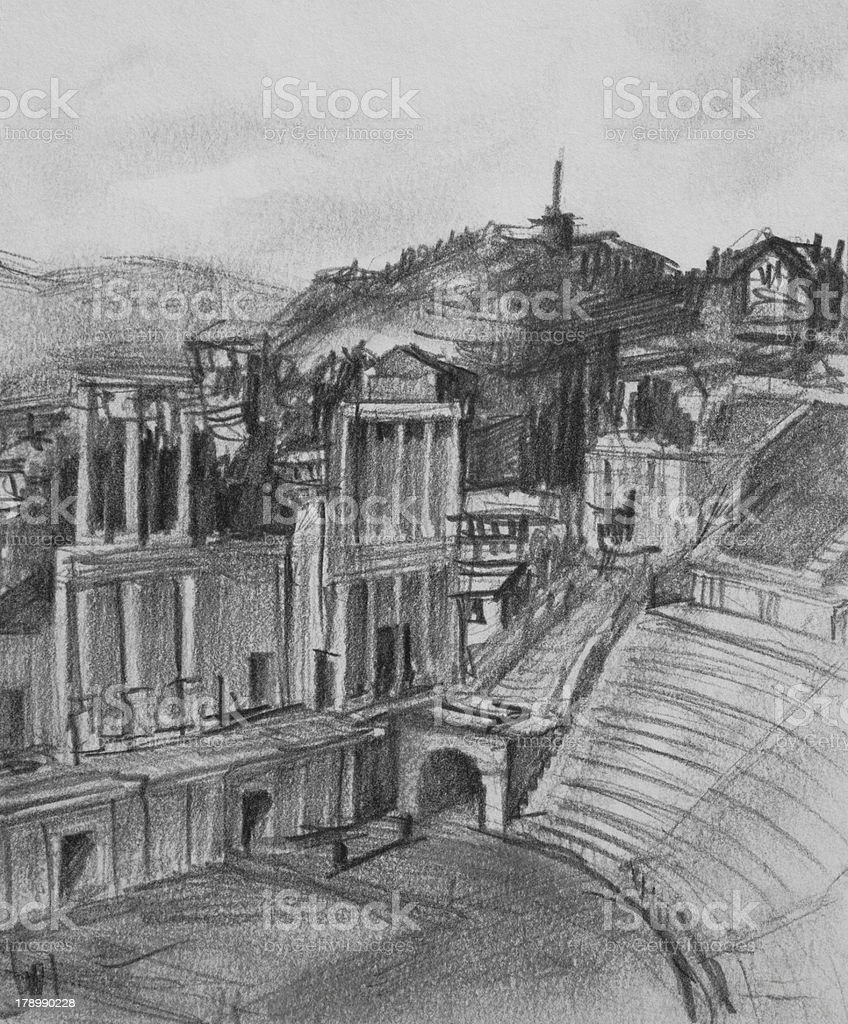 Pencil Drawing of Antique Theatre in Plovdiv royalty-free stock vector art