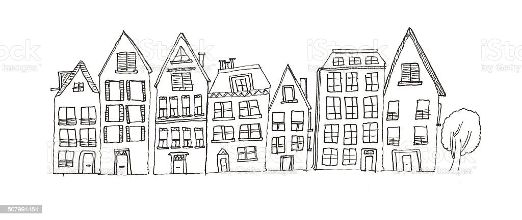 Pencil drawing of houses vector art illustration