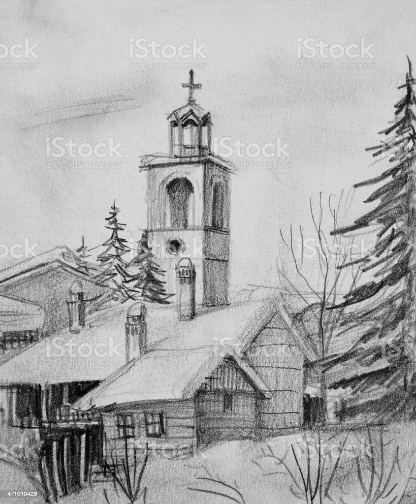 Pencil Drawing of Old Church in Bansko royalty-free stock vector art