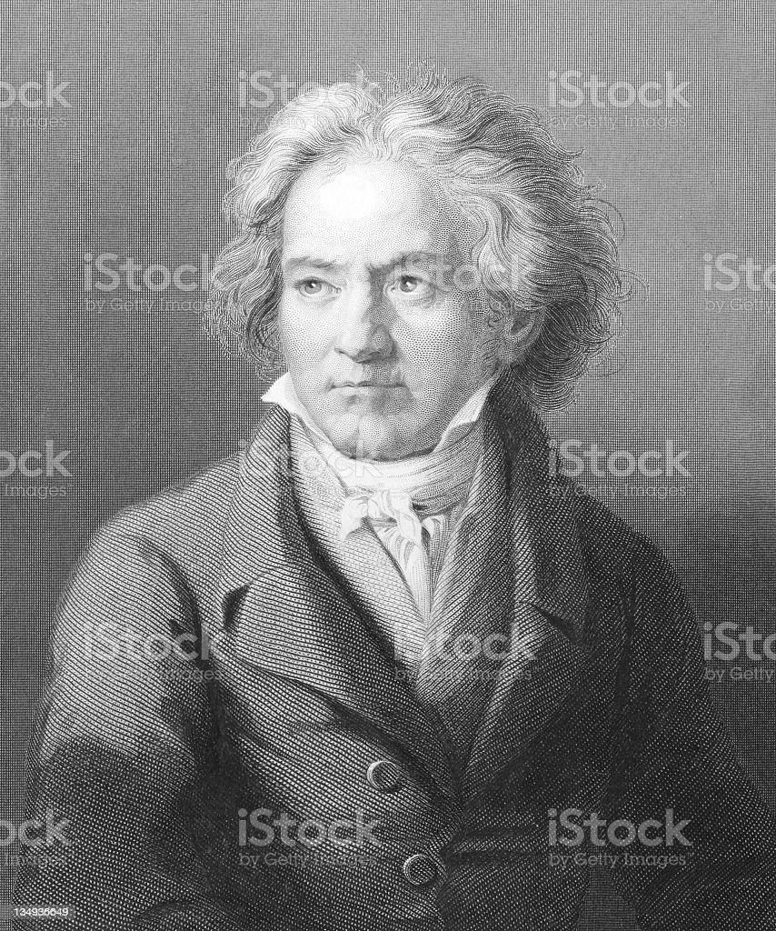 A pencil drawn portrait of Ludwig Van Beethoven vector art illustration