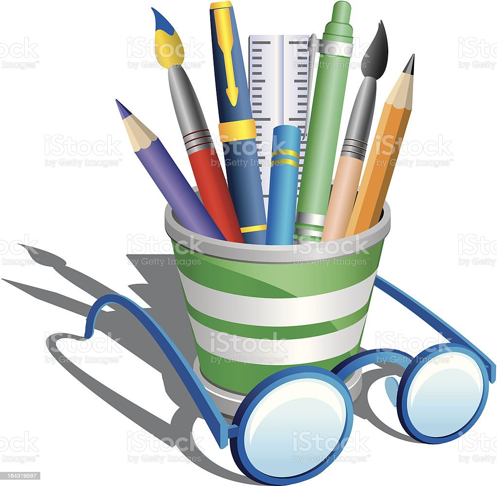 pencil holder and eyeglasses vector art illustration