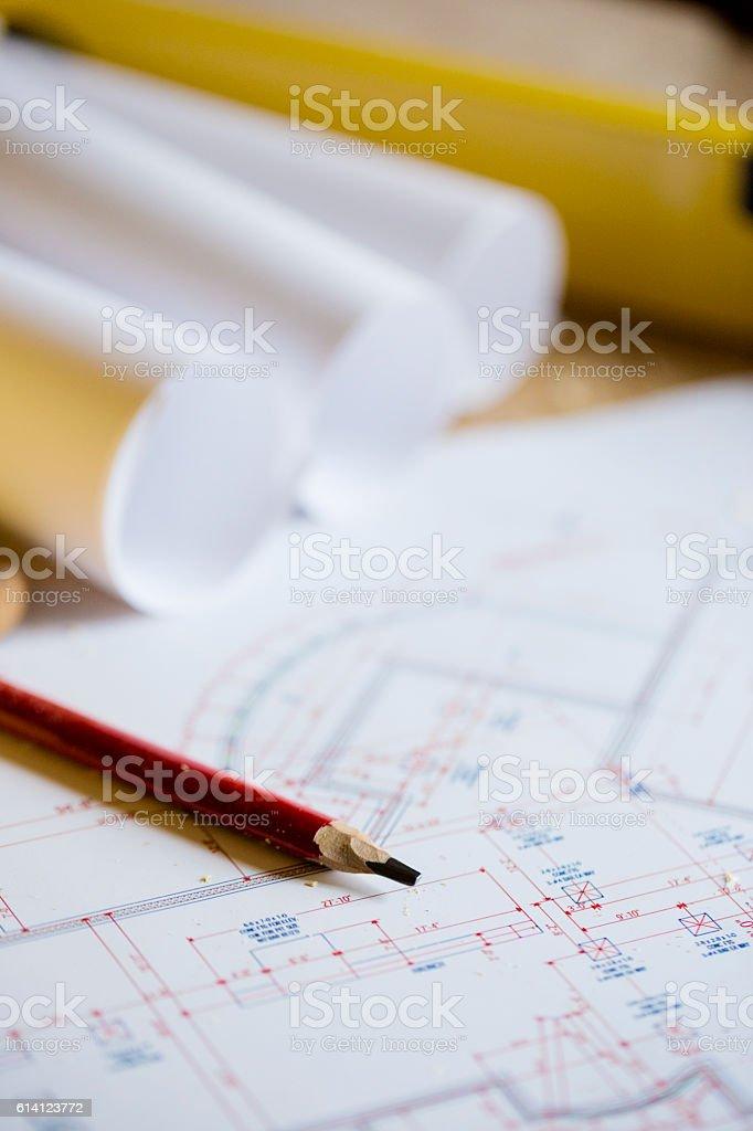 Pencil on sketches vector art illustration